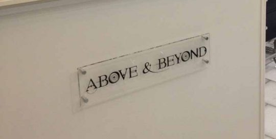 Above & Beyond Perspex Sign